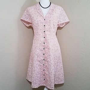 Modcloth Daytime Dynamo Pink Shirt Dress